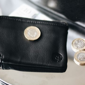 Black Leather Day Zip Wallet