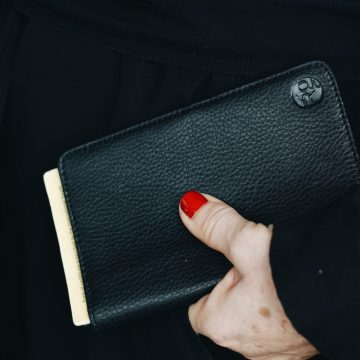 Black Leather Notebook & Passport Holder