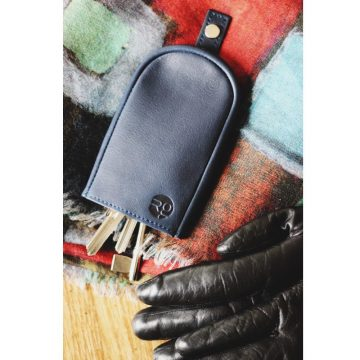 Navy Leather Key Pouch
