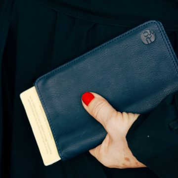 Navy Leather Notebook & Passport Holder