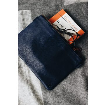 Navy Leather Travel Pouch