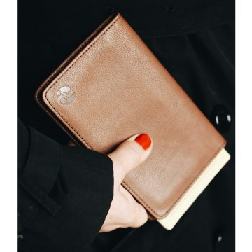Tan Leather Notebook & Passport Holder