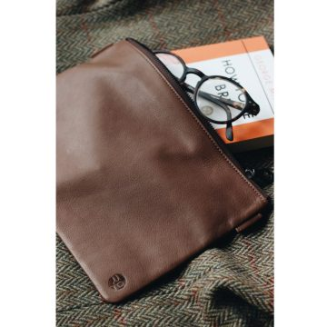 Tan Leather Travel Pouch