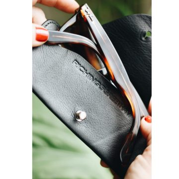 Black Leather Soft Glasses Case
