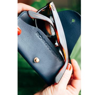 Navy Leather Soft Glasses Case