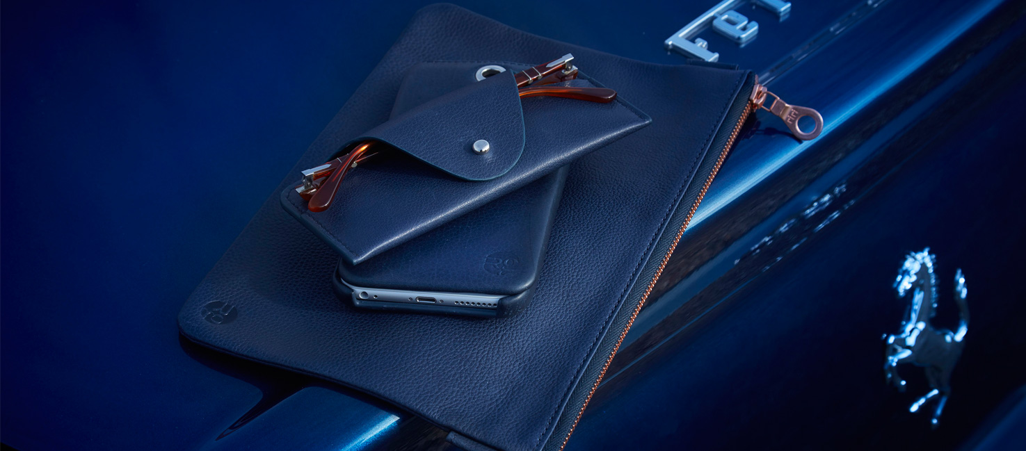 RichingsGreetham Navy Leather Accessories on Blue Ferrari