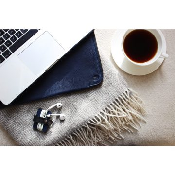 Navy Folio Laptop Sleeve And Cable Tidy Lifestyle