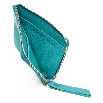 Teal Day Zip Wallet Open