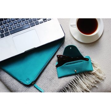 Teal Folio Laptop Sleeve And Soft Glasses Case Lifestyle